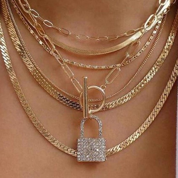 Gold Layered Necklace with Lock